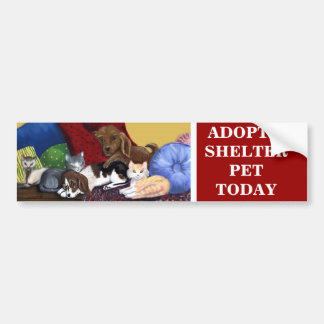 ADOPT A SHELTER PET TODAY Bumpersticker Bumper Sticker