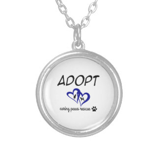 """Adopt """"Caring Paws Rescue"""" Necklace (blue)"""