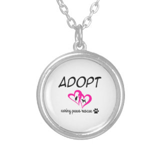 """Adopt """"Caring Paws Rescue"""" Necklace (pink)"""