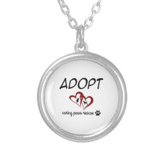 """Adopt """"Caring Paws Rescue"""" Necklace (red)"""