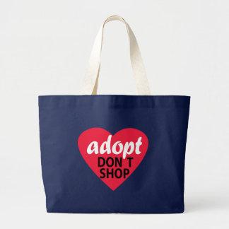 Adopt Dont Shop Large Tote Bag