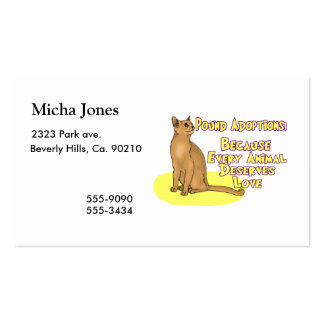 Adopt From The Pound Pack Of Standard Business Cards