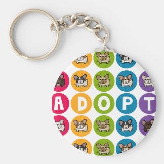 Adopt Rainbow Frenchie Basic Round Button Key Ring