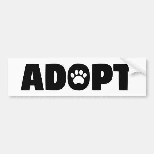 Adopt Rescue Paw Print Bumper Sticker