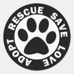 Adopt Rescue Save Love Classic Round Sticker