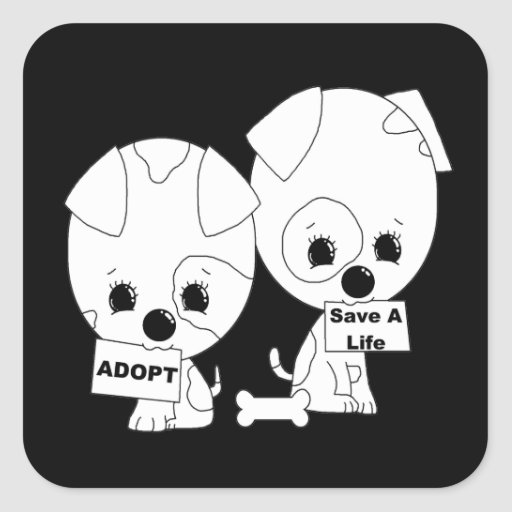 Adopt/Save A Life Pups Square Sticker