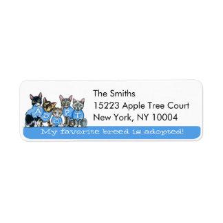 Adopt Shelter Cats Off-Leash Art™ Blue Tagline Return Address Label