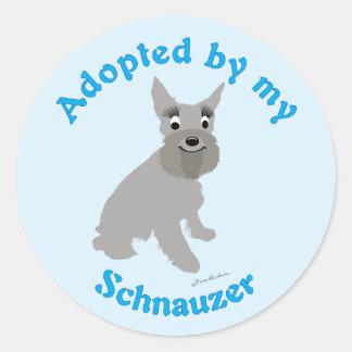 Adopted by my Schnauzer Classic Round Sticker
