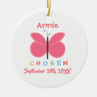 Adopted Chosen Butterfly Adoption - Custom Name Christmas Ornament