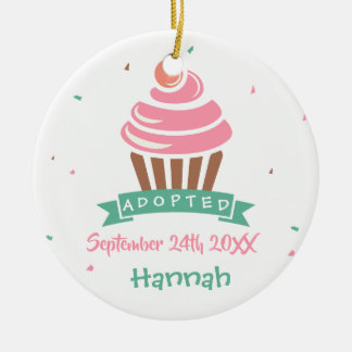 Adopted Cupcake - Custom Name Date Christmas Ornament