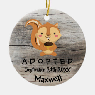Adopted - Customized Chipmunk Adoption Gift Christmas Ornament