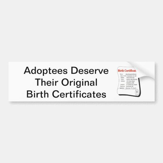 Adoptees Deserve OBCs Bumper Sticker