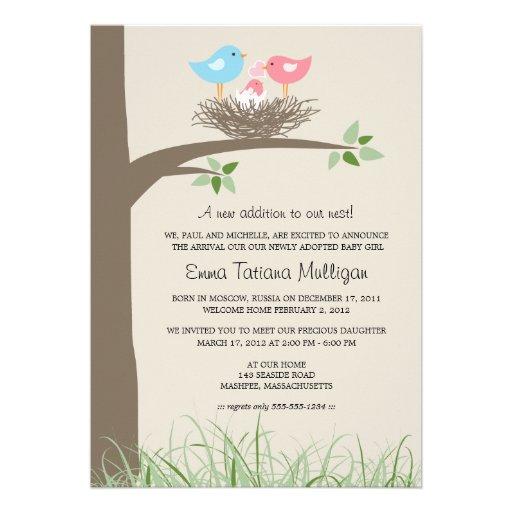 Adoption Announcement Baby Bird's Nest