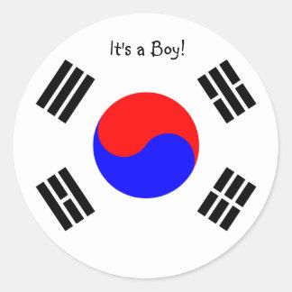 Adoption Announcement Stickers- South Korea, boy Classic Round Sticker