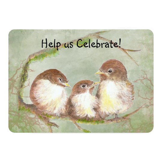 Adoption Celebration Party Sweet Bird Family Art Card