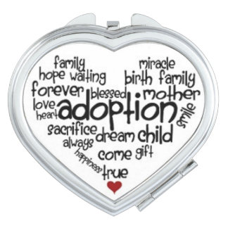 Adoption Heart Shaped Compact Travel Mirrors