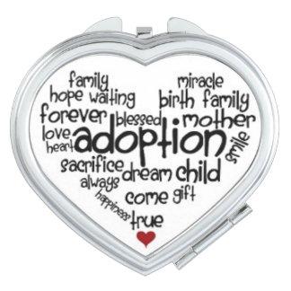 Adoption Heart Shaped Compact Travel Mirrors