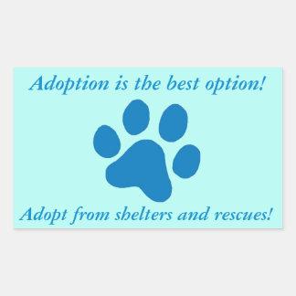 Adoption it the Best Option Blue Paw Print Rectangular Sticker