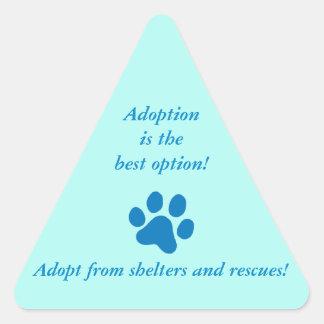Adoption it the Best Option Blue Paw Print Triangle Sticker