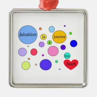 Adoption Journey of Heart Circles Silver-Colored Square Decoration