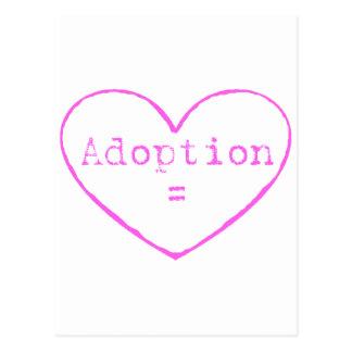 Adoption = love in pink postcard