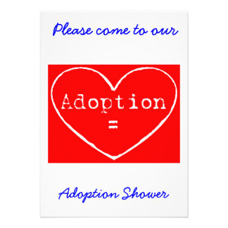 Adoption Love White on Red Shower invitation