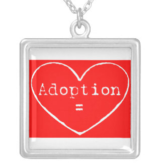 Adoption = love white on red square pendant necklace