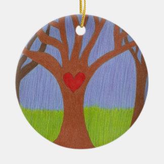 Adoption Tree Double-Sided Ceramic Round Christmas Ornament