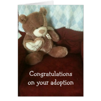 ADOPTION WISHES WITH TEDDYBEAR GREETING CARD