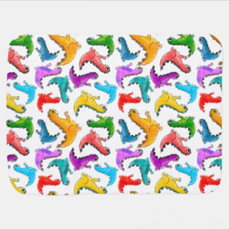 Adorabe baby dinosaurs, bright colors baby blanket