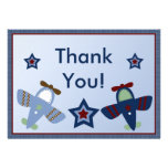 Adorable Aeroplanes/Aviator Thank You Card Custom Invite