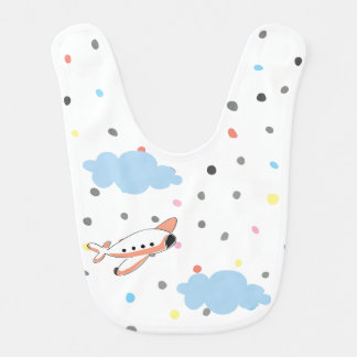 Adorable Airplane Dots Dotted Baby Bib for Babies