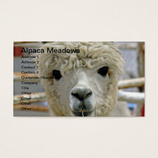 Adorable Alpaca Meadows Business Card