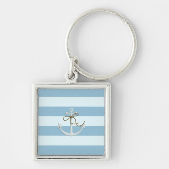 Adorable Anchor on Light Blue and White Stripes