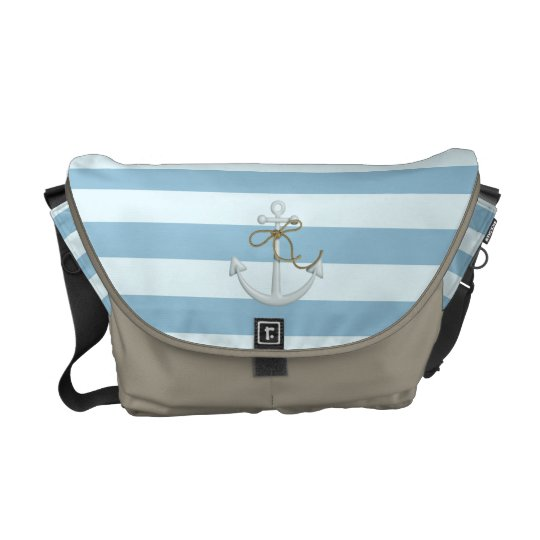 Adorable Anchor on Light Blue and White Stripes Messenger Bag