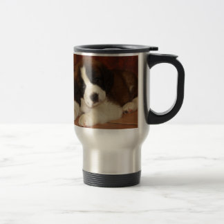 Adorable and Sweet St. Bernard Puppy Stainless Steel Travel Mug