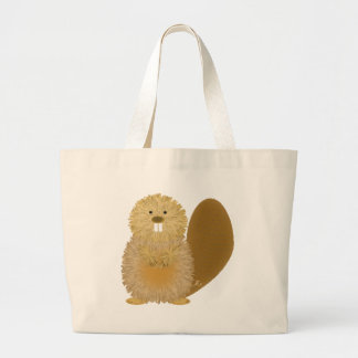 Adorable Animal Drawings: Beaver Large Tote Bag