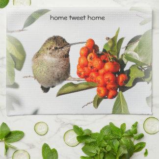 Adorable Anna's Hummingbird on the Berry Bush Tea Towel