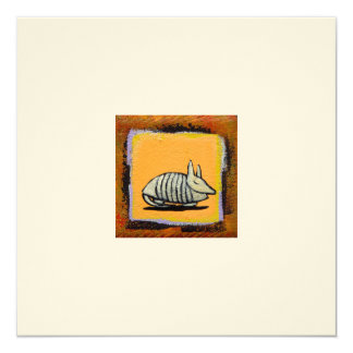 Adorable armadillo art fun cute little painting 13 cm x 13 cm square invitation card