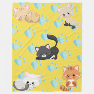 Adorable Assorted Kittens and Paw Prints Fleece Blanket
