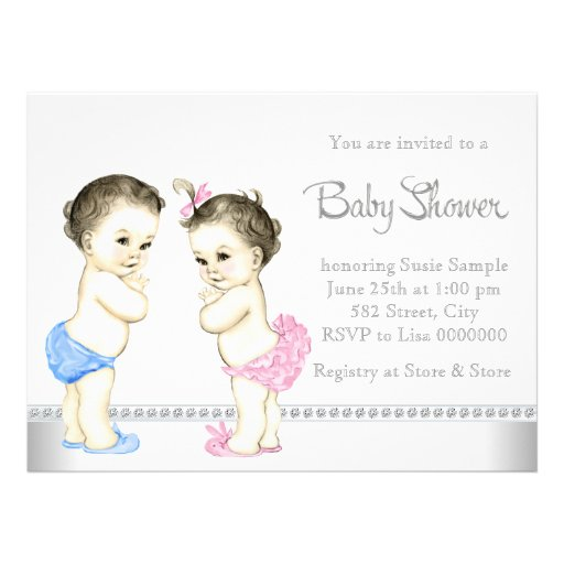 Adorable Babies Pink and Blue Twin Baby Shower Invitations