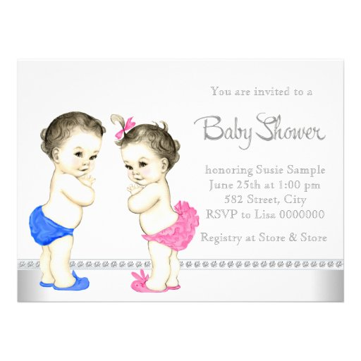 Adorable Babies Pink and Blue Twin Baby Shower Personalized Announcement