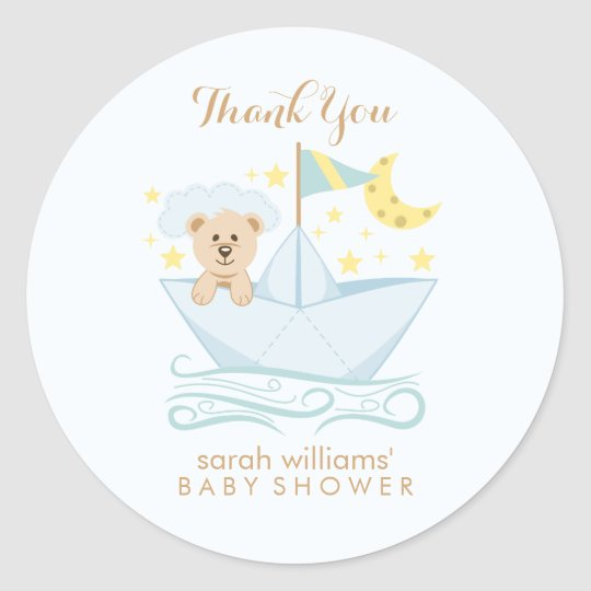 Adorable Baby Bear in Paper Boat Round Sticker