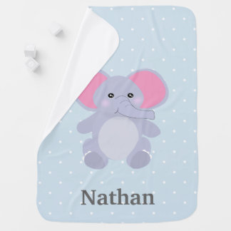 Adorable Baby Blue Polkadot Elephant newborn Baby Blanket