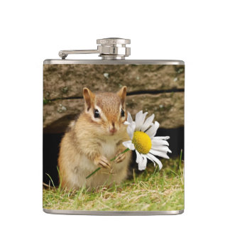 Adorable Baby Chipmunk with Daisy Hip Flask
