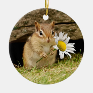 Adorable Baby Chipmunk with Daisy Round Ceramic Decoration