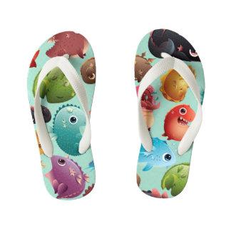 Adorable Baby Dragons on Blue Kid's Flip Flops