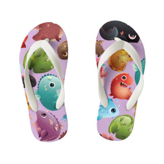Adorable Baby Dragons on Lavender Kid's Flip Flops
