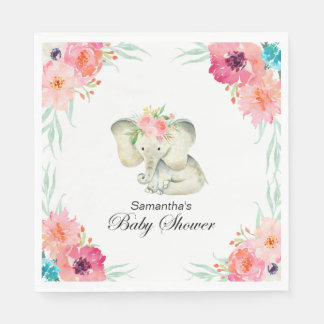 Adorable Baby Elephant Girl Baby Shower Disposable Napkin