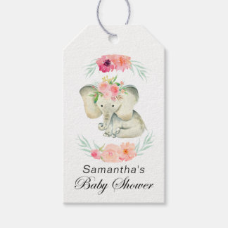 Adorable Baby Elephant Girl's Baby Shower Gift Tags